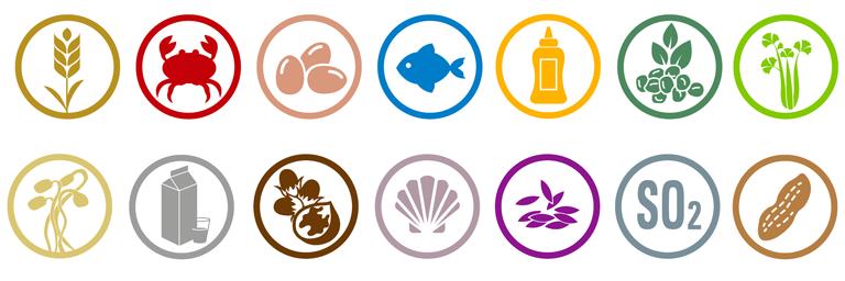Liste des pictogrames des allergènes
