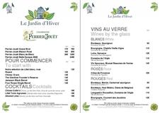 Apercu de la carte Carte Vins Le Jardin d'Hiver